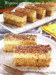 Coffee and walnut cake - Culorile din Farfurie Sweets Recipes, Easy Desserts, Cake Recipes, Coffee And Walnut Cake, Romanian Desserts, Russian Cakes, Bulgarian Recipes, Dessert Buffet, Banana Bread Recipes