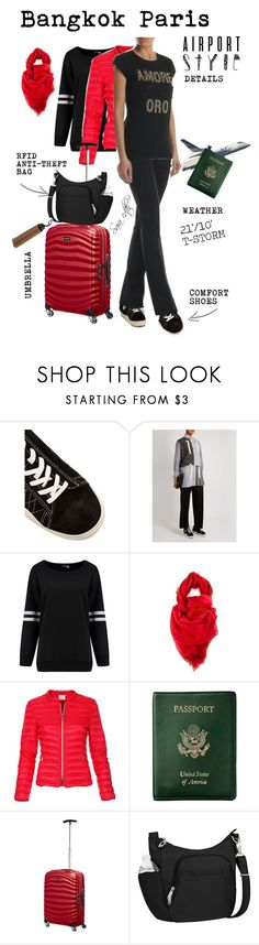 """""""AIRPORT STYLE BKK-PRS"""" by sara-cdth ❤ liked on Polyvore featuring Eytys, Salvatore Ferragamo, Royce Leather, Samsonite, Travelon and Rosetti"""