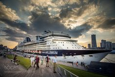 Cruise Liner by alf_n1 with seapeoplecloudyshipcruisedeparturesun setlinercruise linerJapanYokohamaKanagawapassenger terminal