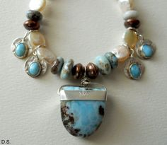 Larimar, pearls, silver.... what's not to love??  Handmade Southwestern Bohemian CowgirlChic Blue by my friend Debra at LostPondStudios