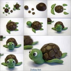 Creative Ideas – DIY Cute Fondant Turtle Cake Topping - Easy Crafts for All Fondant Cake Toppers, Fondant Cakes, Cupcake Cakes, Baking Cupcakes, Cupcake Toppers, Cake Icing, Fimo Clay, Polymer Clay Crafts, Polymer Clay Turtle