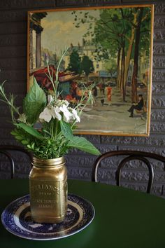 Spray-Painted Jar with simple flowers