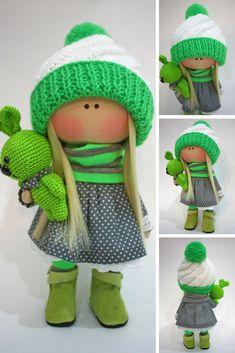 Rag Doll Textile Doll Handmade Doll Fabric Doll Nursery Doll Interior Doll Art Doll Cloth Doll Soft Doll Green Doll Baby Doll by Ksenia