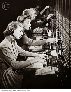 Switchboard operators - In the early days of telephony, through roughly the 1960s, companies used manual telephone switchboards and switchboard operators connected each call by inserting a pair of phone plugs into the appropriate jacks