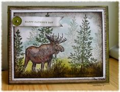 """By Tina Weller. Uses moose stamp from """"Walk in the Wild"""" and tree from """"Lovely as a Tree,"""" both from Stampin' Up. Inks: Mossy Meadow, Old Olive, Early Espresso."""