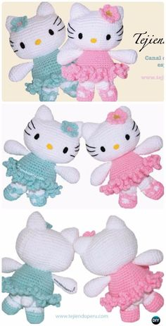 Tutorial: hello kitty bailarina tejida a crochet (amigurumi) - Hello kitty ballet dancer : Tutorial in spanish with videos Chat Crochet, Crochet Mignon, Crochet Amigurumi Free Patterns, Crochet For Kids, Crochet Dolls, Free Crochet, Ravelry Crochet, Crochet Yarn, Knitting Patterns