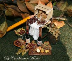 Autumn, chestnut wine and grapes !! <3  Miniature food scale 1/12