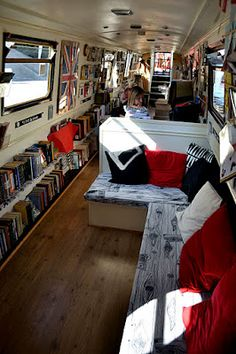 i can sit in here all day // The Book Barge - a floating bookshop that travels through Britain's rivers and canals