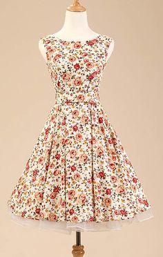 Beige Floral Vintage Dress More