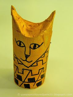 Use Your Coloured Pencils: Egyptian Cat Mummies Egyptian Mummies, Egyptian Cats, Egyptian Symbols, Ancient Egypt Crafts, Classroom Art Projects, Classroom Ideas, Summer Art Projects, Toilet Paper Crafts, Coloured Pencils