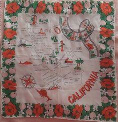 Vintage State of California Map Souvenir Hand Rolled Rayon Silk Handkerchief | eBay