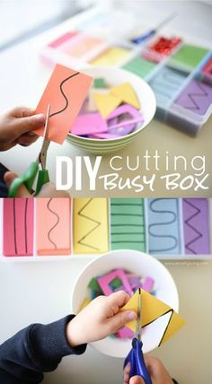 Cutting Busy Box for Toddlers & Preschoolers! Developing important Scissor Skills with these simple tips & tricks! www.acraftyliving.com