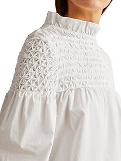 Smocking Patterns, Core Collection, Cotton Blouses, Ruffle Blouse, Diy Keychain, Puff Sleeves, How To Wear, Tops, Silhouette