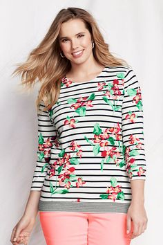 Women's Supima 3/4-sleeve Print Crew Sweater from Lands' End
