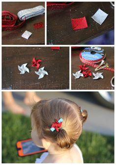 crafty hair bows, fabric pinwheel, pinwheel hair bow, easy ribbon hair bows