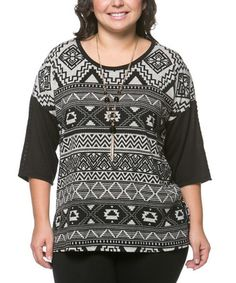 Black Tribal Layered Top - Plus by Essential Collection #zulily #zulilyfinds