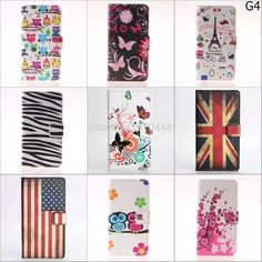 Fashion USA UK flag flower owl cartoon pattern wallet with Card Pu Leather stand holder case cover for LG G4 F500 case with pen