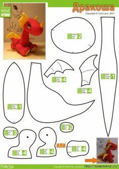 Felt dragon pattern - is-sit tiegħi Plushie Patterns, Animal Sewing Patterns, Felt Patterns, Softie Pattern, Sewing Stuffed Animals, Stuffed Animal Patterns, Felt Dragon, Baby Dragon, Cute Dragon