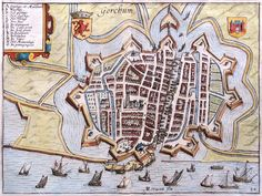 Stadsplattegrond van Gorkum in 1625 door Guiccardini uitgegeven (Gorinchem) Old Maps, Antique Maps, Antique Prints, Early World Maps, Star Fort, Hellenistic Period, Classical Antiquity, Today In History, City Maps