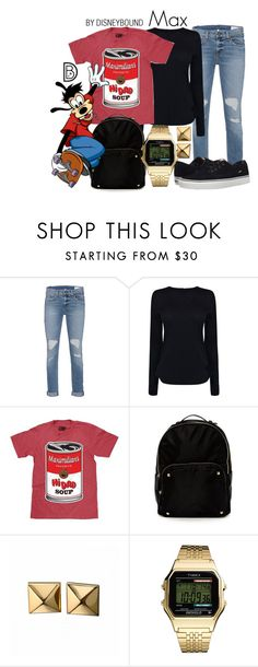 """""""Max"""" by leslieakay ❤ liked on Polyvore featuring rag & bone, Helmut Lang, Steven by Steve Madden, Waterford, Timex, Vans, disney, disneybound and disneycharacter"""