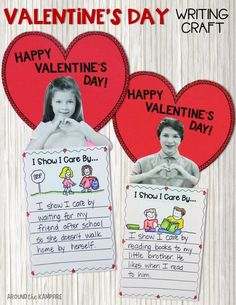Valentine's Day Writing Activities and Craft Valentine's Day writing craft for kids- My students love using pictures of themselves and this made an ideal February/Valentine's Day bulletin board for our and grade hallways. Valentine Crafts For Kids, Valentines Day Activities, Holiday Activities, Valentines Day History, Happy Valentines Day, Valentines Sweets, Kids Writing, Writing Activities, Craft Activities