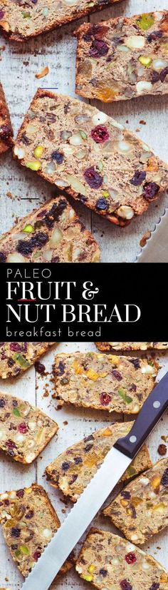 Paleo Fruit and Nut Breakfast Bread ~ this amazing chunky quick bread is grain free, and dairy free, with no added sugar. ==> can replace 1 c of oat flour to replace almond flour (makes loaf hold together better) Breakfast Bread Recipes, Healthy Breakfast Recipes, Gluten Free Recipes, Healthy Snacks, Breakfast Fruit, Paleo Fruit, Paleo Dessert, Paleo Diet, Dinner Dessert