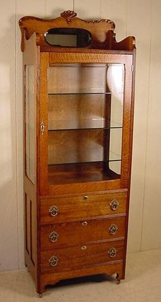 Oak Doctor's Cabinet Empire Furniture, Antique Furniture, Dental Cabinet, Cabinet Dimensions, Antique Cabinets, Beveled Glass, Housekeeping, Wood Projects, Woodworking