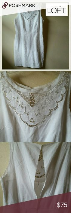 """NWOT! Ann Taylor LOFT LINEN & COTTON  Eyelet Dress Never worn. Ever. Stunning and perfect! No flaws. New condition. Linen and Cotton blend. The liner is 100% Cotton. The back is slightly exposed. Built in tank for cover and comfort. It has a zipper & hook & eye closure. The straps on the tank adjust. Slit in back for ease of movement. So pretty for a garden party, or everyday! The chest is a beautiful threaded design. See pic 2. Enjoy. I am 5' 9"""" it lands 3"""" above my knee. Wrinkly from the…"""