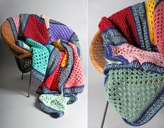 Vintage Cozy Crochet Multi Color Square Afghan by GirlLeastLikely