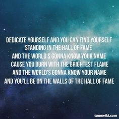 """-- #LyricArt for """"Hall of Fame"""" by The Script"""