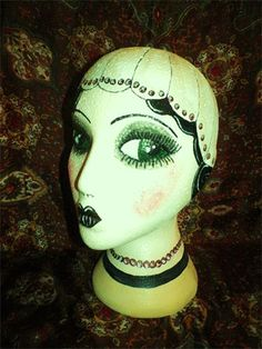 art deco beaded hat mannequin by evie sweetie