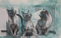 "Saatchi Online Artist Niki Hare; Painting, ""grey cats"" #art"