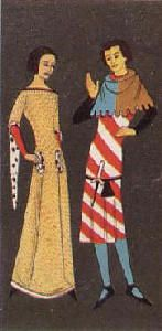 14th Century Polish Clothing   day clothes about 1300 the young man left is wearing