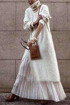 Long Sleeve Sweater Dress, Sweater Over Dress, Turtleneck Dress, Tunic Sweater, Slit Dress, Japan Fashion, Latest Fashion, Women's Fashion, Mode Outfits
