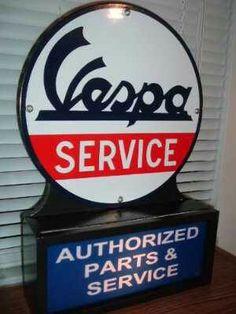 Vespa Lighted Porcelain Sign