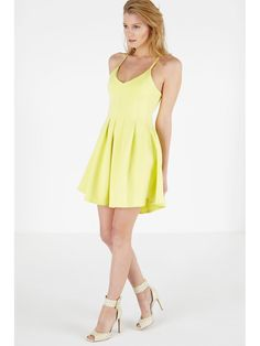 Lemon Scuba Pleated Peplum Mini Dress