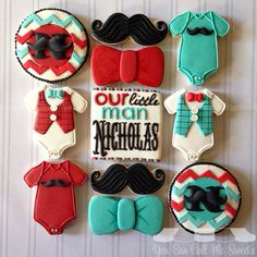 Little Man Baby Shower Cookies Bow Tie Cookies, Onesie Cookies, Cute Cookies, Cupcake Cookies, Sugar Cookies, Iced Cookies, Mustache Cookies, Baby Boy Cookies, Baby Shower Cookies