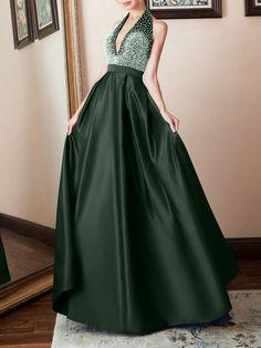 5502b5d34c1 Deep V-Neck Plain Evening  Dress  eveningdress Fancy Gowns