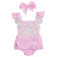 Симпатичные Новорожденного Младенца Девушки Одежда Розовый Кружевной Цветочный Боди Наряды Женский Пляжный Костюм 0-18 М