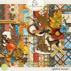 "A bold colorful Fall friendly Digital Scrapbook Kit paying attention to the details of the many colors ""quilted"" through nature.  	Included in this product:  	 		18 Patterned and plain papers; 12x12 	 		1 Upper/Lower leather style alpha (with num..."