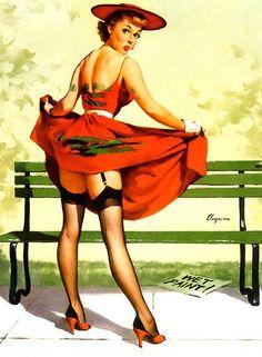 Las pin-ups siguen un patrón: son mujeres sensuales, normalmente tomadas en situaciones interesantes y que destilan erotismo e ingenuidad . No hace falta que estén desnudas (de hecho casi nunca lo están).