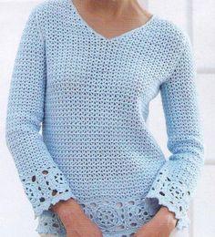 PDF Women Crochet Sweater Pattern /Women Sweater Pattern/S Crochet Tunic Pattern, Crochet Jumper, Knit Patterns, Crochet Lace, Vintage Patterns, Sweater Patterns, Crochet Woman, Crochet Fashion, Beautiful Crochet