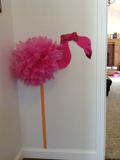 Beach themed party - flamingo from store bought tissue paper flower, pink cardstock and orange masking tape