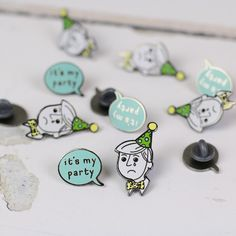 Disappointed Party Man & It's My Party Speech Bubble Enamel Pin Set | Auntie Mims
