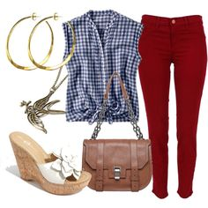 Gingham tank + red jeans