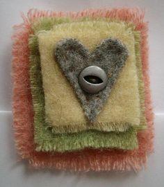 Felted Wool Valentine Heart Pin Brooch repurposed blanket wool