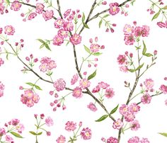 Cherry Blossoms fabric by jillbyers on Spoonflower - custom fabric