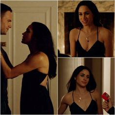 Rachel Zane of Suits -- She is meant to be at home in this episode but look at her gorgeous little black dress ! aww!