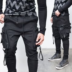 Details about Big Cargo Strap Mens Black Kangaroo Pocket Baggy Cuff Jogger Sweat Pants Guylook – Men's style, accessories, mens fashion trends 2020 Cuffed Joggers, Fitted Joggers, Jogger Sweatpants, Fashion Pants, Mens Fashion, Baggy, Cyberpunk Fashion, Mens Activewear, Athletic Outfits