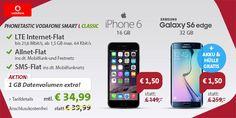 1,5GB LTE Vodafone Smart L ab 34,99€ mit iPhone 6 oder Galaxy S6 EDGE für 1,50€ http://www.simdealz.de/vodafone/vodafone-smart-l-sparhandy-phonetastic-aktion/